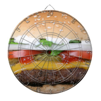 delicious cheeseburger with pickles photograph dartboard