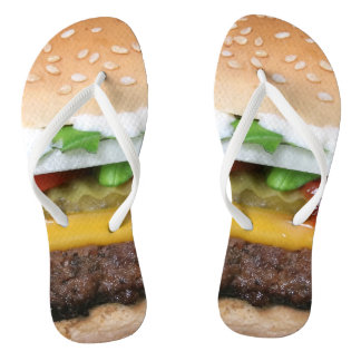 delicious cheeseburger with pickles photograph flip flops