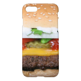 delicious cheeseburger with pickles photograph iPhone 7 case