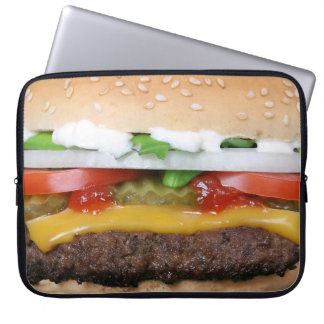 delicious cheeseburger with pickles photograph laptop sleeve