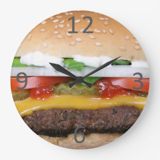 delicious cheeseburger with pickles photograph large clock