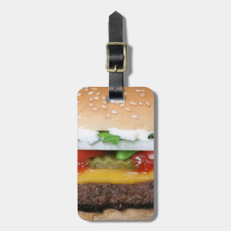 delicious cheeseburger with pickles photograph luggage tag