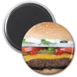 delicious cheeseburger with pickles photograph magnet