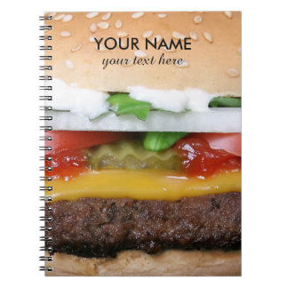 delicious cheeseburger with pickles photograph note books