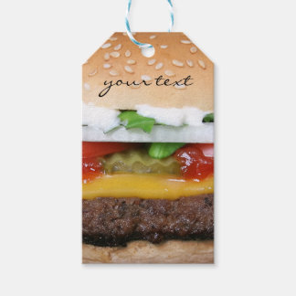 delicious cheeseburger with pickles photograph pack of gift tags