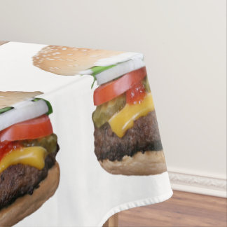 delicious cheeseburger with pickles photograph tablecloth