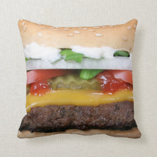 delicious cheeseburger with pickles photograph throw pillow
