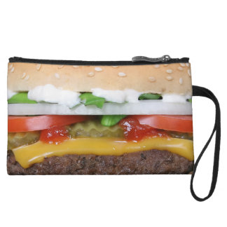 delicious cheeseburger with pickles photograph wristlet purses