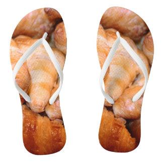 Delicious classic french croissants photograph flip flops