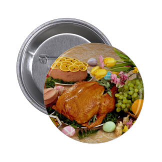 Delicious Cooked turkey and ham, flowers and fruit Pinback Buttons