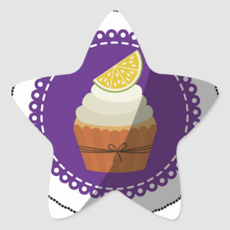 Delicious cup cake star sticker