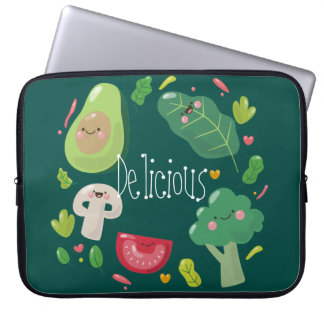 Delicious cute cartoon vegetable characters vegan laptop sleeves