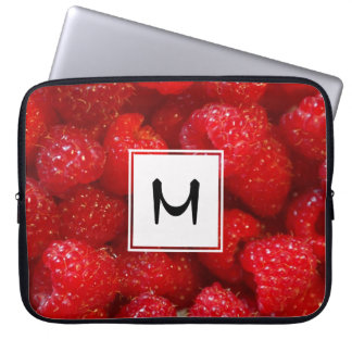 Delicious cute dark pink raspberry photograph laptop sleeve