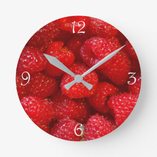 Delicious cute dark pink raspberry photograph round clock