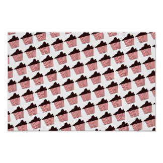 Delicious Cute Pink Chocolate Frosting Cupcake Poster