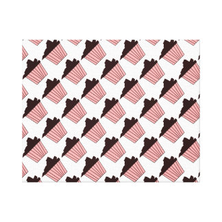 Delicious Cute Pink Chocolate Frosting Cupcake Stretched Canvas Print