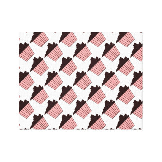 Delicious Cute Pink Chocolate Frosting Cupcake Stretched Canvas Prints