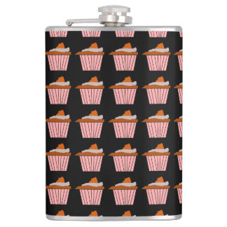 Delicious Cute Pink Cupcake With Chocolate Frostin Flask