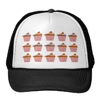 Delicious Cute Pink Cupcake With Chocolate Frostin Trucker Hat