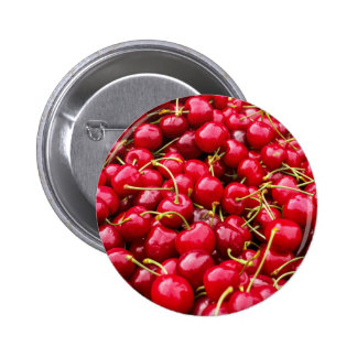 delicious cute red cherry fruits photograph 2 inch round button
