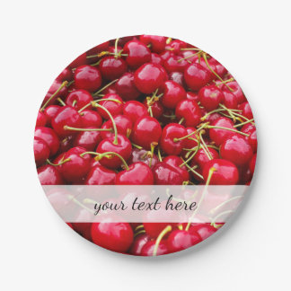delicious cute red cherry fruits photograph 7 inch paper plate