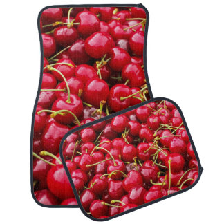 delicious cute red cherry fruits photograph car mat