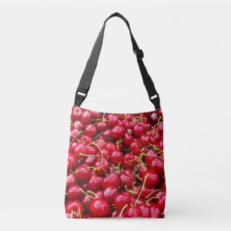 delicious cute red cherry fruits photograph crossbody bag