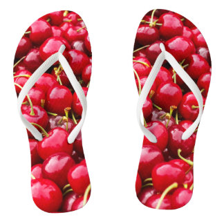 delicious cute red cherry fruits photograph flip flops