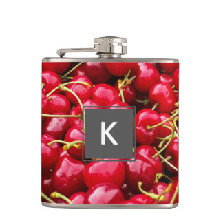 delicious cute red cherry fruits photograph hip flask