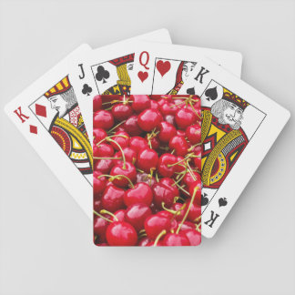 delicious cute red cherry fruits photograph playing cards