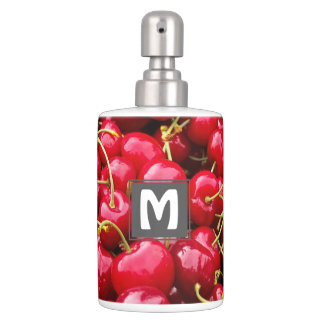 delicious cute red cherry fruits photograph soap dispenser and toothbrush holder