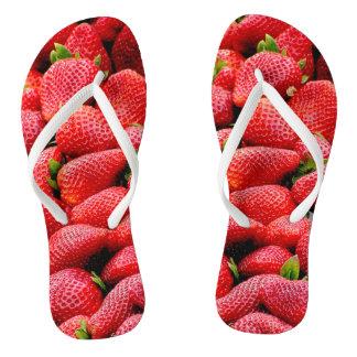 delicious dark pink strawberries photograph flip flops