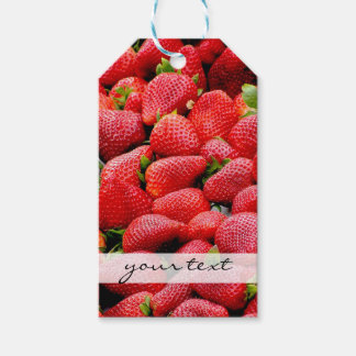 delicious dark pink strawberries photograph gift tags