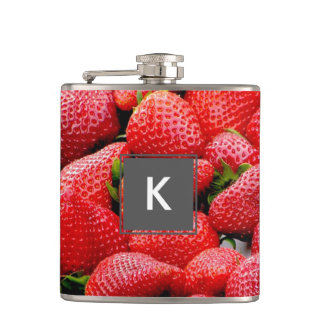 delicious dark pink strawberries photograph hip flask