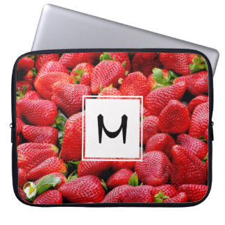 delicious dark pink strawberries photograph laptop computer sleeves