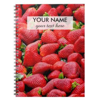 delicious dark pink strawberries photograph notebook