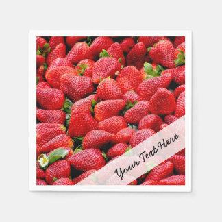 delicious dark pink strawberries photograph paper napkin