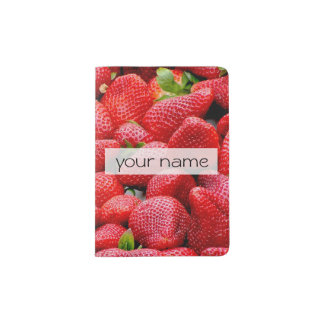 delicious dark pink strawberries photograph passport holder