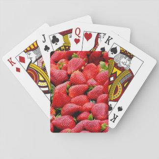 delicious dark pink strawberries photograph poker deck