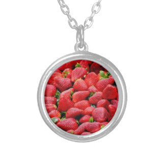 delicious dark pink strawberries photograph silver plated necklace