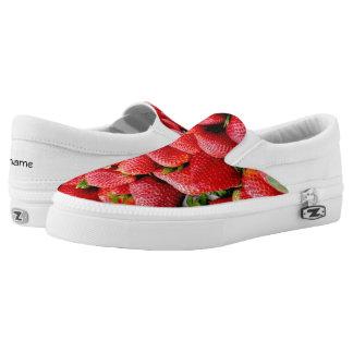 delicious dark pink strawberries photograph Slip-On sneakers