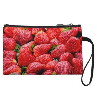 delicious dark pink strawberries photograph wristlet