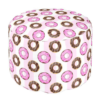 Delicious Donuts Pink Stripes Pattern Pouf