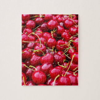 Delicious fruity red cherries fruit food pattern jigsaw puzzle