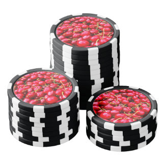 Delicious fruity red cherries fruit food pattern poker chips