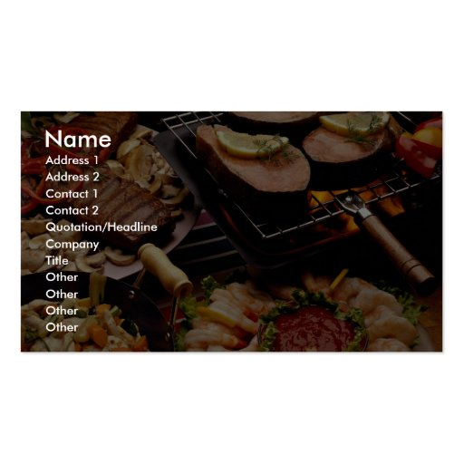 Delicious Grilled salmon, beef steaks and cocktail Business Card Template