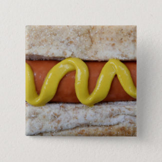 delicious hot dog with mustard photograph 2 inch square button