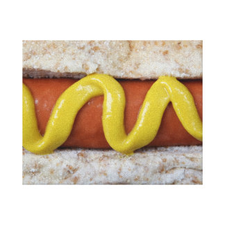 delicious hot dog with mustard photograph canvas print