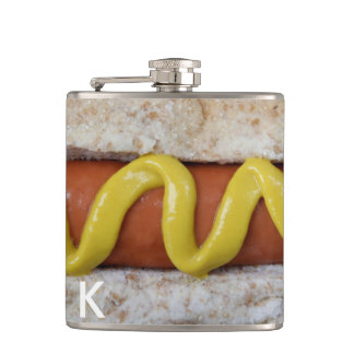 delicious hot dog with mustard photograph hip flask