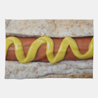delicious hot dog with mustard photograph kitchen towel